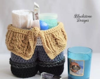 Cable Sweater Gift Basket - PDF crochet pattern ONLY - Tote, Wine, Coffee, Tea, Hot Cocoa, Gift, Birthday, Get Well, Spa Day, Bag, Basket