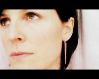 Long Spike Earrings, Gunmetal, Silver, or Gold