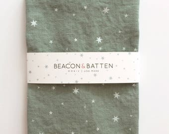 Scattered Stars Towel : Juniper Green Ground - White Print