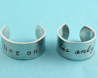 SALE - His One and Her Only Rings - Adjustable Rings - Anniversary Gift - Couple's Gift - Mother's Day Gift - Size 5 6 7 8 9 10 11 12 13 14