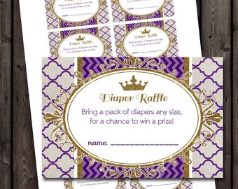 Royal diaper raffle tickets, baby shower diaper raffle, purple and gold,  instant download at purchase
