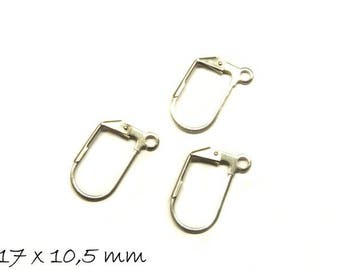 Klappbrisuren stainless steel 17 x 10.5 mm ear hook earrings silver