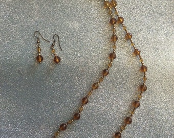 """26"""" brown necklace with earrings"""
