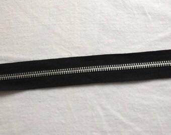 Zipper zip detachable black silver metal sewing notions, 30 cm