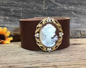 Leather Brooch Upcycled Cuff, Embellished Leather Bracelet Cuff, Vintage Brooch Bracelet Cuff,  Women's Brooch Bracelet, Western Bracelet