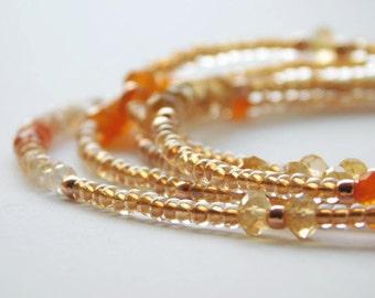 Multi-wrap Bracelet, Long Gemstone Necklace, Sunstone Bracelet, Carnelian Bracelet, Citrine Bracelet, Seed Bead Multi-wrap, Rose Gold Beads