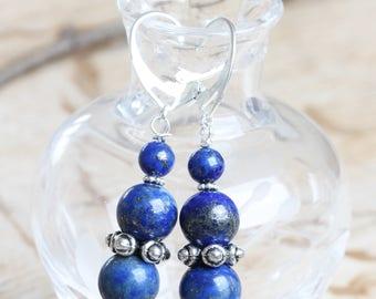 Lapis Lazuli Beads Earrings - Lapis Drop Earrings - Lapis and Silver - Blue Gemstone Earrings - Lapis Lazuli and Silver earrings