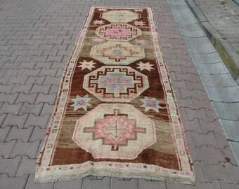 4.2x11 ft Vintage Washed Out Unique Turkish Kars Wool Rug