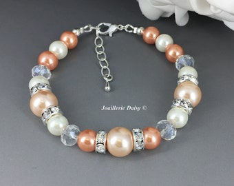 Peach Bracelet Pearl Jewelry Set Bridesmaids Gift Wedding Peach Jewelry Gift for Woman Maid of Honor Jewelry Gift for Her