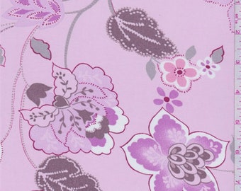 Creamy Pink Floral Georgette, Fabric By The Yard