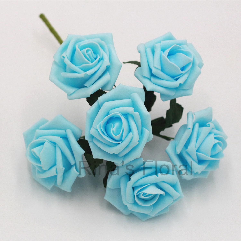 Light Blue Flowers For Weddings: Baby Blue Artificial Flowers Foam Roses Light Blue Flowers For