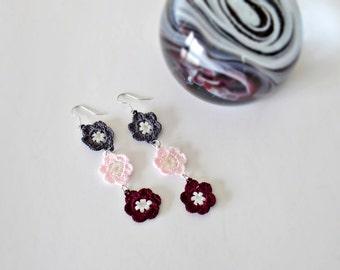 Flower Dangle Earrings, Beaded Crochet Earrings, Dangle Earrings, Bridal Boho Earrings, Women's Gift, Christmas Gift, Crochet Jewelry,