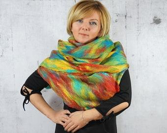 Cobweb Scarf, Wrap Scarf, Felted Scarf,  Felted Shawl,  Merino wool,  Wool scarf -Feltmondo