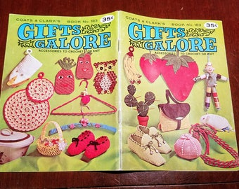 Gifts Galore Coats and Clark's Booklet No. 183, Crochet or Knit, 1968 Booklet of Craft Projects to Knit or Crochet, Yarn Crafts, Mid-Century