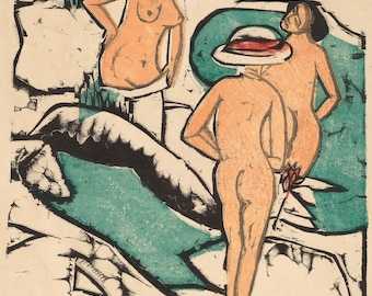 20th Century Expressionism:  Women Bathing Between White Stones, 1912 by Ernst Ludwig Kirchner. Fine Art Reproduction.