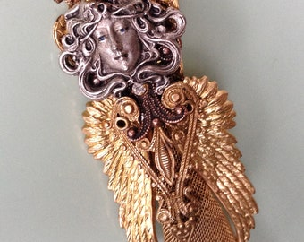 Steampunk Angel Necklace, FREE shipping within the U.S.