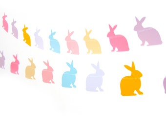 Pastel Bunny Rabbit Garland - home decor, easter decor, easter bunting, bunny garland, easter bunny garland, easter decoration