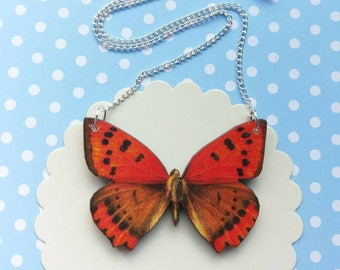 Butterfly necklace butterfly jewelry butterfly gifts for her red butterfly bib necklace butterfly jewellery insect jewelry red swallowtail