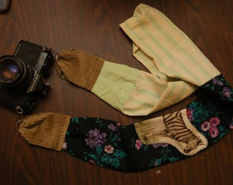 Floral/Striped Vintage Camera Strap w\ Zebra