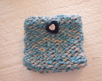 Cream and  aqua   Mini  Knit Bag and gadget case