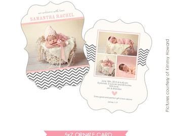 INSTANT DOWNLOAD - Birth announcement template -Ornate 5x7- Fashion Chevron - E461