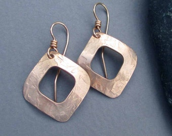 Hammered Bronze Square Hoop Earrings Square Dangles Modern Metal Jewelry: 8th Anniversary, 19th Anniversary, Bronze Anniversary Gift