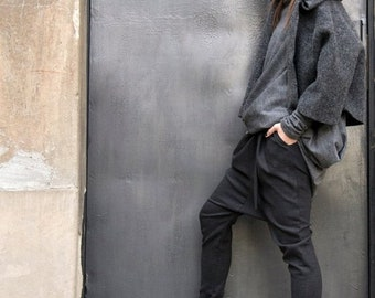 SALE Charcoal  Drop Crotch  Pants / Extravagant Dark Grey  Trousers A05114