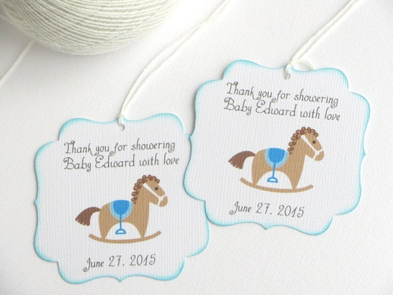 Baby Shower Favor Tags With Rocking Horse Kids Party Favor