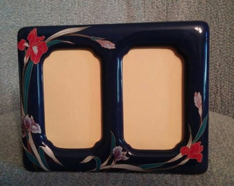1980's Style Ceramic Double Picture Frame with Iris Flowers