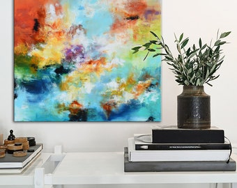 Original blue Abstract Painting, Contemporary blue brown panoramic Painting, modern wall art, Orange blue gold Painting, large modern art