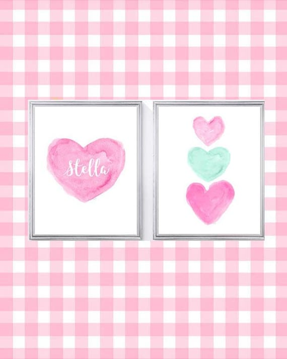 Hot Pink and Mint Kids Room Decor, 8x10 Personalized Sisters Print with Hearts