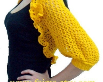PATTERN Knit Shrug Bolero with Crochet Flower Brooch Pattern Lace Shrug Knitting Pattern, 58