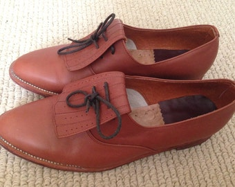 Handmade genuine leather brown oxford shoes: size 9 lace up flats