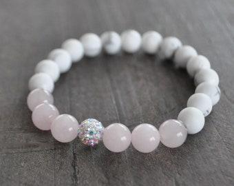 Bracelet mala - Howlite - Quartz rose - Brillance - Coco Matcha