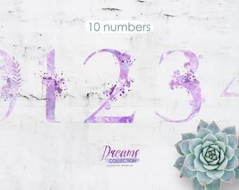 Watercolor numbers - DREAMS
