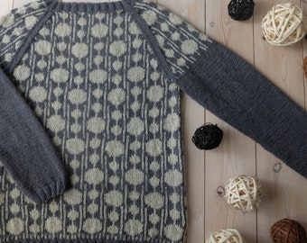 Handknit sweater Morse Code