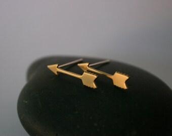 Arrow Raw Brass Post Earrings (18mm x 4mm)