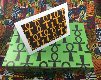 Ankh Boxed Greeting Card-Solid Box Brown and Gold