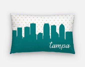 Tampa Florida decor | Tampa Florida home decor | Florida pillow | gold polka dot pillow | lumbar pillow | Tampa skyline pillow | modern home