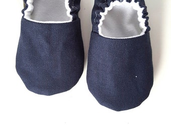 Classic Navy Blue ,Baby Moccs / Baby Shoes / Baby Moccasins/ Childrens Indoor Shoes / Vegan Moccs / Vegan Moccasins / Soft soled Shoes