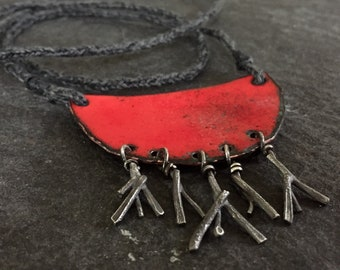 rooted - torch fired enamel and molten sterling pendant on lucet cording