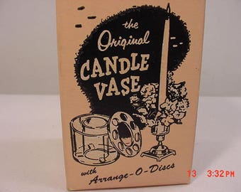 Vintage Original Candle Vases With Arrange - O - Disc In Original Box  17 - 819