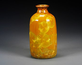 Ceramic Vase - Yellow, Orange, Gold - Crystalline Glaze on High-Fired Porcelain - Hand Made Pottery - FREE SHIPPING - #J-265