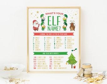 Elf name sign, Christmas sign, Christmas Elf sign, Whats your Elf name sign, Christmas Printable Christmas decorations, Christmas decor Xmas