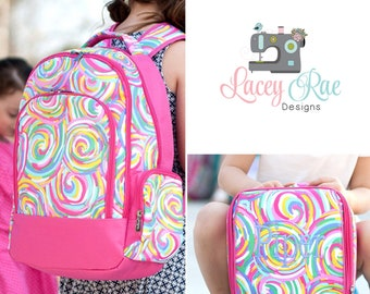 Girls Summer Sorbet Personalized Backpack, Lunchbox, and pencil pouch, preschool backpack, School Age Backpack, Monogrammed colorful rainbow