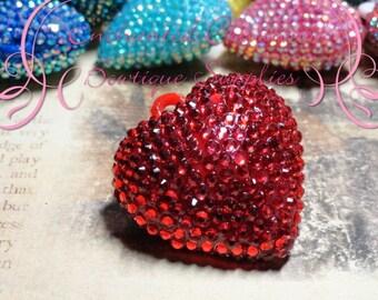 42mm Red Rhinestone Chunky Heart Pendant