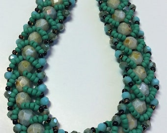 Turquoise Colored Flat Spiral Stitch Bracelet, Blue, Green, Turquoise jewelry