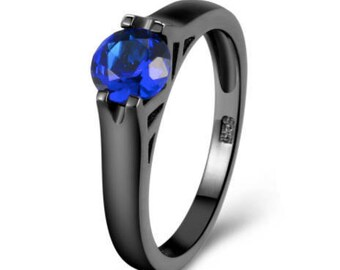 Blue Sapphire Crystal Black Gold Plated Promise Ring