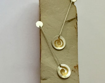 Sterling Silver and Gold Leaf Dangling Spirals Earrings