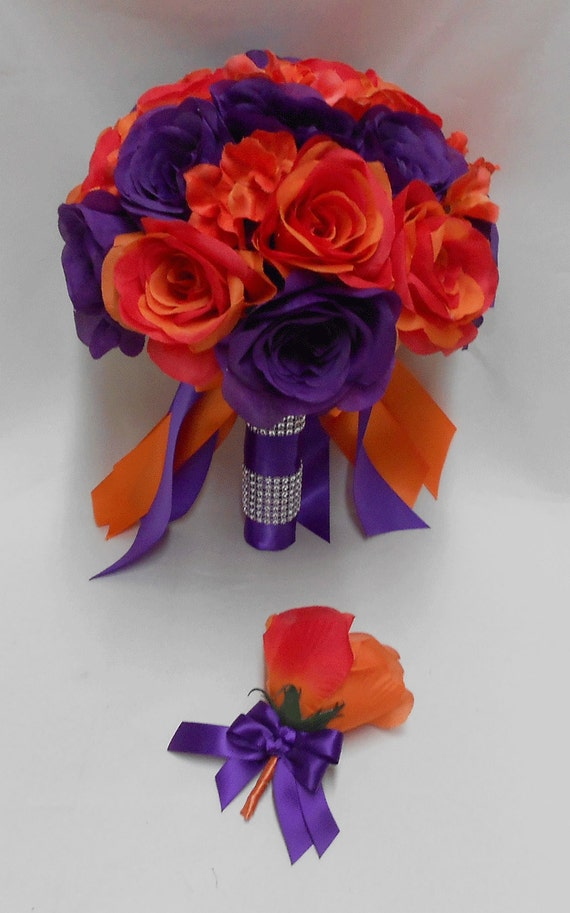 Wedding silk flower bridal bouquet purple orange roses wedding silk flower bridal bouquet purple orange roses brides bouquet grooms boutonniere free shipping mightylinksfo